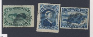 3x Newfoundland Used Rouletted Stamp; #38-VF #39-VF #40-VF Guide Value= $110.00