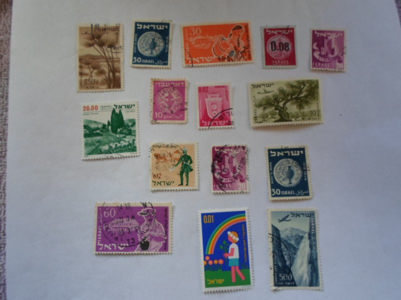 ISRAEL STAMPS MIXED CONDITION. LOT OF 15 stamps ( 5 )