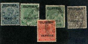 Burma SC# O1-5 KGV Officials O1 MH, O2-5 Used