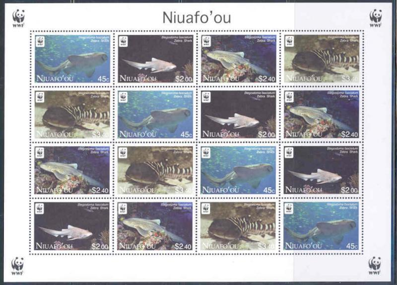 NIUAFO'OU  2012 WORLD WILDLIFE FUND WWF SHARK SHEET  MINT NH