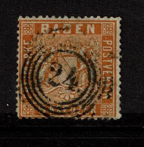 Baden SC# 13, Used, (Noted as Mi# 11b), a 24 in the cancel, see notes - S4158