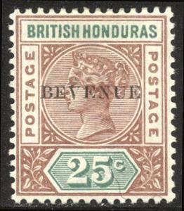 BRITISH HONDURAS #50a Mint - 1899 25c Red Brown & Green, BEVENUE