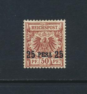 GERMAN EAST AFRICA 1893, 25p on 50pf 17½mm OVPT, VF MLH Sc#5a Mi#5ll (SEE BELOW)