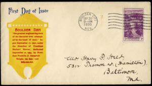 #774-15 BOULDER DAM FIRST DAY COVER RALEY CACHET BN290