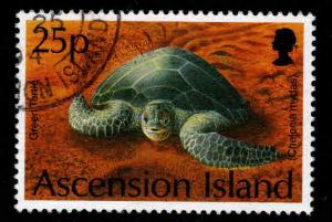 ASCENSION  Scott 586 Used Green Sea Turtle stamp