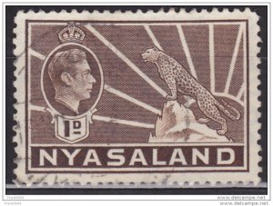 Nyasaland 1938-44, KGVI and Leopard, 1p, sc#55, used