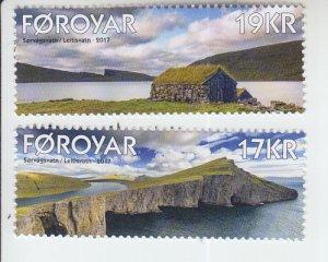 2017 Faroe Islands Sorvagsvatn & Leitisvatn Lakes Series (2) (Scott 673-74)  MNH
