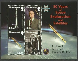 PK251 MONTSERRAT 50 YEARS OF SPACE EXPLORATION AND SATELITES KB MNH STAMPS