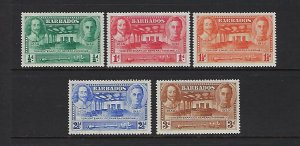BARBADOS SCOTT #202-206 1939 TERCENTENARY OF THE GENERAL ASSEMBLY   MINT HINGED