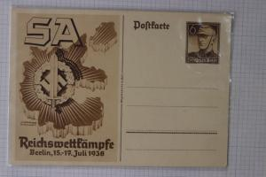 Germany Postal Card Stationery Souvenir SA National Competition 1938 HG 258a