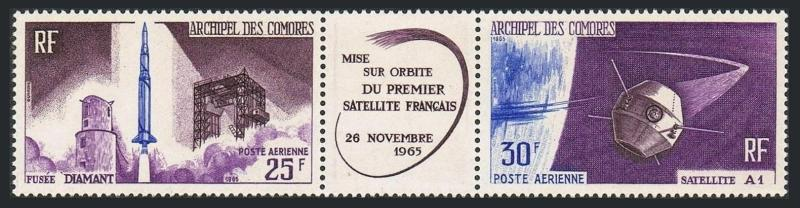 Comoro Isls C15-C16a strip,MNH.Michel 72-73. French Satellite A-1.1966.