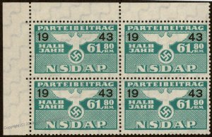 Germany NSDAP Party 1943 61.80RM Dues Revenue Membership Stamp 96225