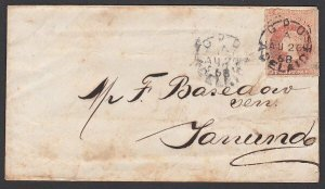 SOUTH AUSTRALIA 1868 2d roulette on cover Adelaide to Tanunda.............E501