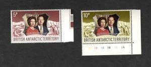 British Antarctic Territory SC #43-44  25th Wedding Anniversary MNH stamps