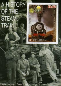 Uzbekistan 2001 Steam trains s/s Perforated mnh.vf