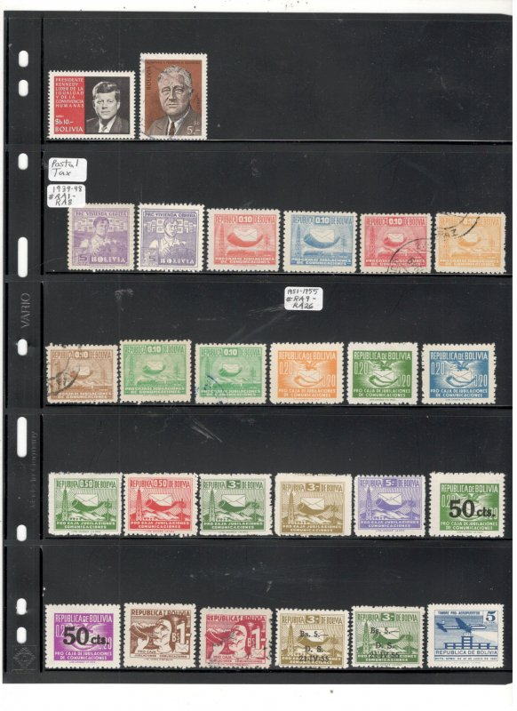 BOLIVIA COLLECTION ON STOCK SHEET MINT/USED