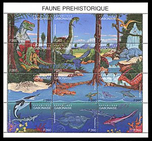 Gabon 802, MNH, Prehistoric Animals miniature sheet
