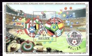 Belize 827 MNH 1986 Soccer souvenir sheet    (ap2612)