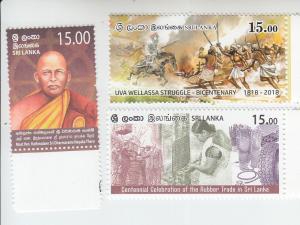 2018 Sri Lanka Thero/Rubber Trade/Uva Wellassa Struggle (3) (Scott NA) MNH