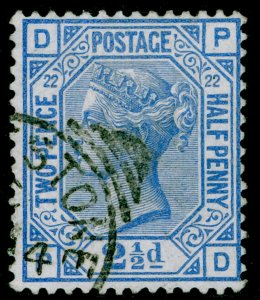 SG157, 2½d blue plate 22, FINE USED, CDS. Cat £45. PD