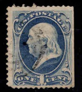 USA Scott 156 Used 1873 1c stamp  on wove paper nice color SE