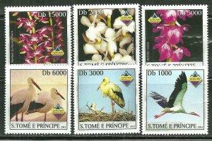 St. Thomas & Prince Islands MNH 1492A-F Birds & Orchids SCV 9.00