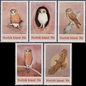NORFOLK IS. 1984 - Scott# 343a-e Owls Set of 5 NH