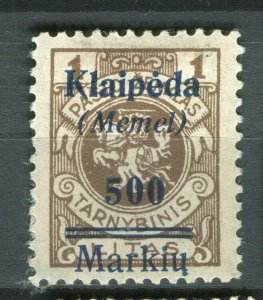 GERMANY; MEMEL 1923 Feb Lithuania surcharged issue Mint hinged 500m.