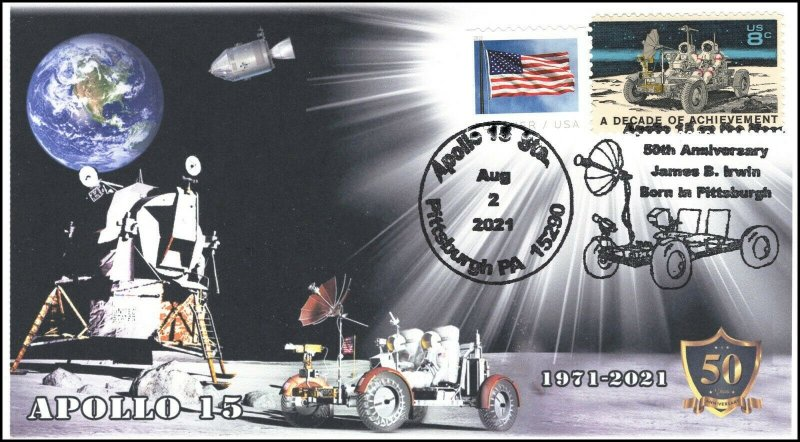 21-211, 2021, Apollo 15, 50th Anniversary, Event Cover, Pictorial Postmark,