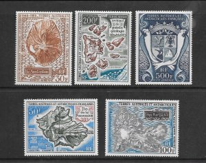 FRENCH SOUTHERN ANTARCTIC TERRITORIES #C19-23 ISLANDS & COAT OF ARMS  MNH