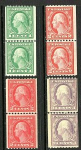 [ST]  1917 US #486-489 MNH OG Perforated 10 Horizontally Vertical Coil Pairs Set