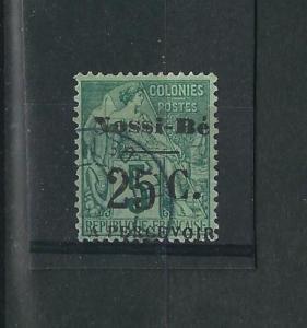 Nossi-Be J15 Y&T TT 10 25c on 5c Used Signed F/VF 1891 SCV $180.00