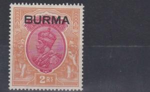 BURMA  1937  S G 14  2R  CARMINE & ORANGE  MH  CAT £50
