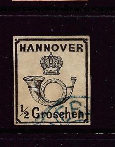 HANNOVER  1860-62  1/2gr  BLACK   FU   SG 32a