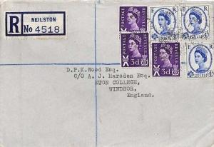 AC8 1961 GB SCOTLAND REGIONALS Wilding Combination *Neilston* Cover Eton College