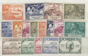 Turks Caicos Virgin Islands Jordan 1949 UPU Sets x 3 MNH J7089
