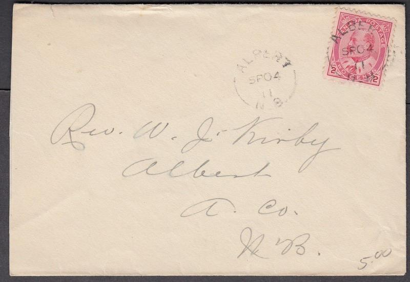 NEW BRUNSWICK SPLIT RING TOWN CANCEL COVER ALBERT