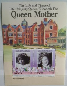 Nevis 1985 Life & Times Queen Mother MS317 MNH Colour Shift Variety