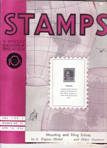 Stamps Weekly Magazine of Philately April 14, 1934 Stamp Collecting Magazine