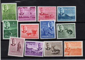 Mauritius 1950 KGVI mint MNH set to $2 SG276-288 ($2 LHM) WS22176