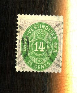 Danish West Indies #12 Used Fine Straight Edge Cat$1250