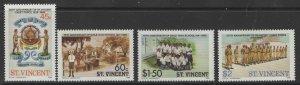 ST.VINCENT SG1018/21 1986 50TH ANNIV OF ST. VINCENT CADET FORCE MNH