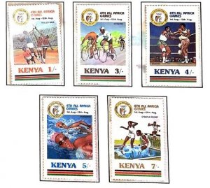 A) 1987, KENYA, VOLLEYBALL, CYCLING, BOXING, SWIMMING, OBSTACLE RACING, IV AFRIC