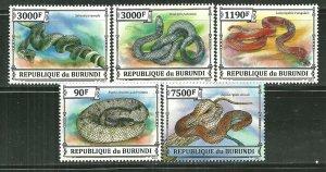 Burundi MNH Set Of 5 Snakes Reptiles 2013
