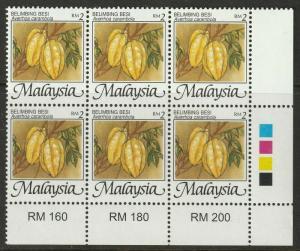 MALAYSIA 2002 Fruits Definitive RM2 block of 6V margin plate MNH SG#1095e M2103