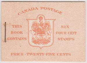 Canada USC#BK36d Pane of Six 4c in complete English Booklet 1943 -