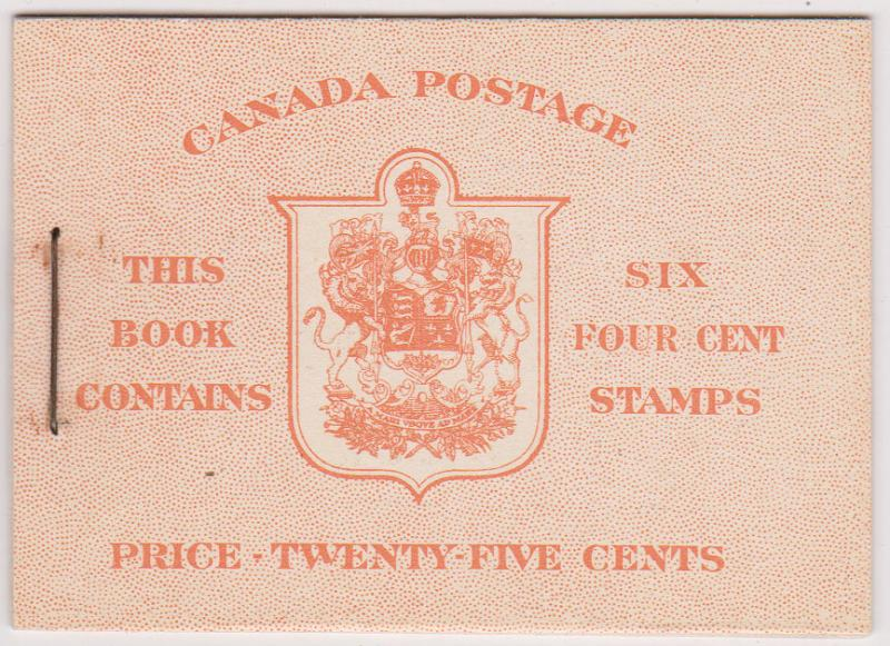 Canada USC#BK35d Pane of Six 4c in complete English Booklet 1943 -