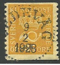 Sweden #145, Crown & Post Horn, Used**-
