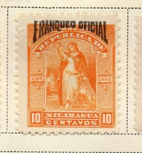 Nicaragua 1894 Early Issue Fine Mint Hinged 10c. Official Optd 323730