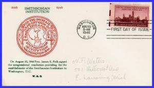 US FDC #943 M28 Smithsonian Institution ~ Grandy Cachet